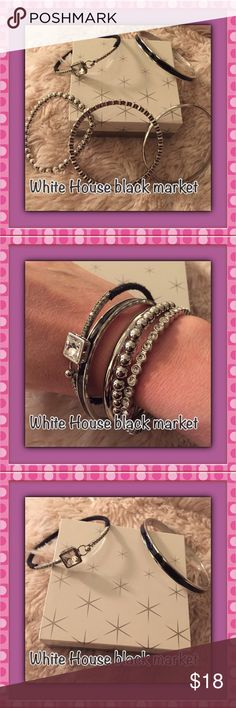 White House black market set of bangles WHBM set of silver bangles. 5 bangles. 1 complete silver, 1 diamond one, 1 black/silver, 1 silver beaded, 1 black with a diamond, White House Black Market Jewelry Bracelets