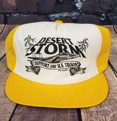 e2cd045b Vtg Desert Storm Trucker Hat Snapback Baseball Cap Mesh Made USA 90s