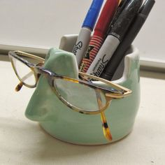 This handmade eyeglass holder pencil holder is a fine ceramic pottery office organize   I used durable stoneware ceramic clay and made this
