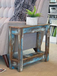 Heavily Distressed Side Table End Table Entry Way Table | Etsy