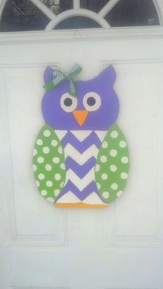 Wooden Owl Door Hanger by MayBellDesigns on Etsy, $30.00