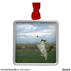 Cat And Butterfly Square Metal Christmas Ornament
