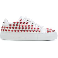 Philipp Plein lo-top Georgia embellished sneakers ($1,085) ❤ liked on Polyvore featuring shoes, sneakers, white, white flat shoes, embellished shoes, chunky sneakers, round toe flat shoes and white sneakers