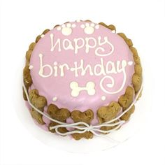 Bubba Rose Classic Pink Girl Dog Birthday Cake - Organic