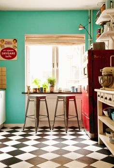 Teal and Red Kitchen - Black and White Checkered Floor