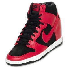 4108a694c2dd Nike Dunk Sky Hi High Hidden Wedge Red Black White 528899-016 Rare Size 6