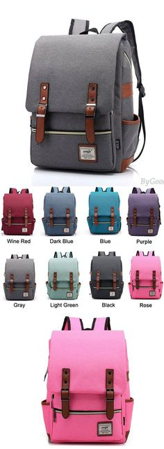 Retro Large Travel Backpack Leisure Leather Canvas Backpack Schoolbag for big sale ! #backpack #canvas #rucksack