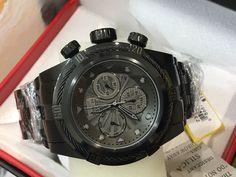 23915 Invicta 52mm Bolt ZEUS COMBAT BLACK Swiss Quartz Black SS Bracelet Watch