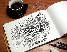 City of joy Kolkata doodle art on Behance Name Drawings, Dark Art Drawings, Calligraphy Quotes Doodles, Calligraphy Art, Typography Art, City Drawing, Doodle Art Drawing, Art Journal Prompts, Doodle Art Journals