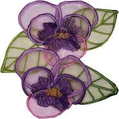 3D machine embroidery pansy flowers at Secretsof.com