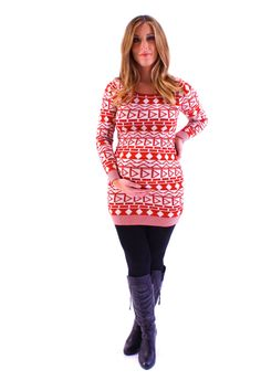 3138ef026107 Maternity Friendly Geo Double Knit Tunic paired with maternity skinny jeans  and boots. Heritwine Maternity