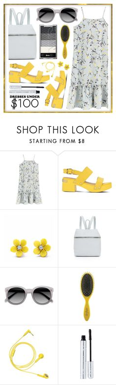 """dress"" by sandevapetq ❤ liked on Polyvore featuring Love Moschino, WithChic, Kara, Drybar, Happy Plugs and 100% Pure"