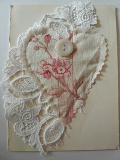 This antique fabric card gives me all sorts of ideas for a pillow top!