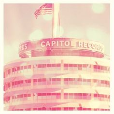 A dreamy pastel Capitol Records print. Perfect for a baby nursery! TITLE: Capitol Records Hollywood, California Original fine art photograph by Myan Soffia. Available as a loose print, framed print or canvas wrap. Gift For Music Lover, Music Lovers, Echo Park, Hollywood California, California Decor, California Trip, California Living, Santa Monica, Teen Girl Rooms