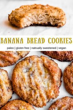 Banana Bread Cookies (gluten free, vegan) These easy vegan and paleo banana bread cookies are a delicious and healthy treat the whole family will enjoy. Their banana bread flavor is to die for! Cookies Gluten Free, Gluten Free Desserts, Vegan Gluten Free, Paleo Vegan, Dairy Free, Gluten Free Vegan Banana Bread, Paleo Diet, Vegan Food, Paleo Pizza