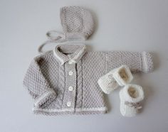 Hand Knitted Baby Set 2-6 Months/Light Grey-Beige an Off by Imunde