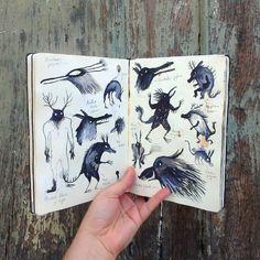 """I still believe in monsters. """"El bosque dentro de mí"""" sketchbook. Adolfo Serra"""
