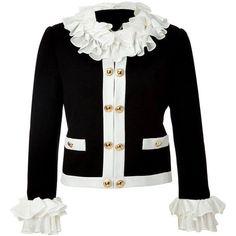 Moschino - Jacket with Ruffle Trim Mode Outfits, Fashion Outfits, Womens Fashion, Moda Peru, Slim Fit Jackets, Moschino, Clothes For Women, Ruffle Trim, Leather Jackets