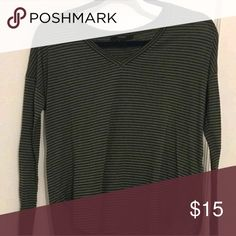 Cute top Dark green long sleeve v neck top with black stripes. Forever 21 Tops Tees - Long Sleeve