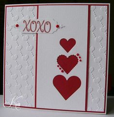 For the F4A challenge today, I did a Valentine card.  I used the Crafts Too Love Hearts EF, which I love, for the background.  The dies are Spellbinders Classic and Scalloped Hearts, and the label is MB Bistro Label. I added the pearls around the heart and on the label to finish.   Thanks for looking