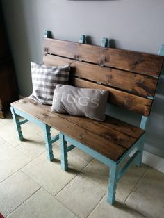 Two old chairs converted into a bench for extra dining room seating when needed!