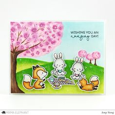 I'm back with another Mama Elephant Stamp Highlight showcasing the super cute Picnic With Friends stamp set and the Picnic W. Cloud Stencil, Mama Elephant Stamps, Elephant Design, Friendship Cards, Scrapbook Cards, Scrapbooking, Copics, Animal Party, Cards