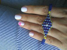 Blue and yellow Greek eye macrame bracelet