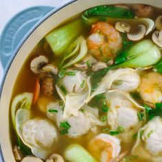 This authentic homemade wonton soup recipe is easy and fun to make! Each hearty . This authentic homemade wonton soup recipe is easy and fun to make! Each hearty bowl is packed with plump pork dumplings, fresh vegetables, and jumbo shrimp. Easy Soup Recipes, Healthy Diet Recipes, Dinner Recipes, Cooking Recipes, War Wonton Soup Recipe, Wonton Soup Recipes, Wonton Soup Broth, Healthy Salads, Easy Chinese Food Recipes