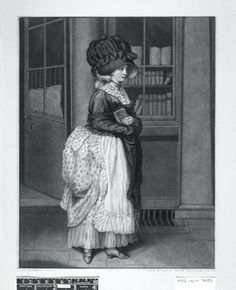 A lady coming from the circulating library; dressed in large bonnet, apron and bustle, carrying a book.  1781 Mezzotint print made by John Raphael Smith