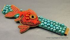 Sammy's Fishie Cuff Bracelet   EBWC Goldfish Cuff by crimsonfrog, $225.00