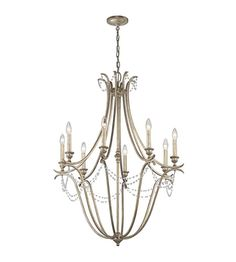 Kichler 43609SGD Abellona 8 Light 30 inch Sterling Gold Chandelier 1 Tier Large Ceiling Light #LightingNewYork