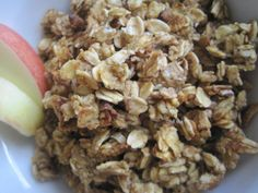 Apple Pumpkin Granola      1/2 cup pumpkin puree (can sub any sweet squash, or mashed sweet potatoes)     2 medium sweet apples, cored and sliced     1/2 cup maple syrup     1 Tbsp cinnamon     1/2 tsp pumpkin spice     1/2 tsp sea salt     8 cups rolled oats, not instant (I use Quaker)     1/2 cup diced walnuts     1/2 cup pumpkin seeds