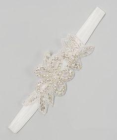 Love this White Rhinestone Floral Headband on #zulily! #zulilyfinds