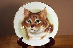 Vintage Duchess Bone China Cat Plate England 24k Gold Trim Animal Kitty