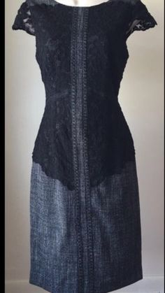 Antonio-Melani-Birdie-Brushed-Tweed-Lace-Sheath-Dress-Sz-14-169-00