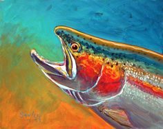 Top Water - Trout and fly original painting. Original art by Famous Fly Fishing Gamefish artist Savlen.