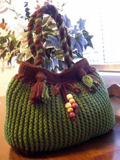 Crochet green and brown fall shoulder bag by MyNicePurses on Etsy, $45.00