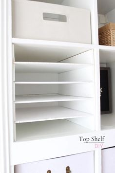 How to Make Horizontal Ikea Shelf Dividers - Top Shelf DIY - Here& how to make horizontal shelf divider units made of plywood for your Ikea Kallax - Craft Room Storage, Paper Storage, Cube Storage, Storage Ideas, Ribbon Storage, Shelving Ideas, Ikea Kallax Shelf, Ikea Kallax Regal, Ikea Malm