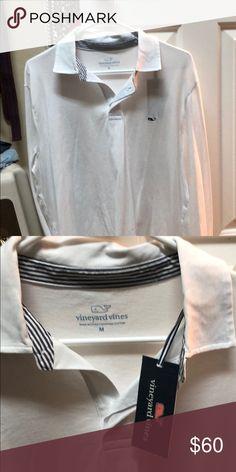 Men's vineyard vines Men's white long sleeve vineyard vines shirt Vineyard Vines Shirts Polos