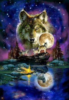 Wolves and Native American Indians-totally awesome picture.                                                                                                                                                                                 More