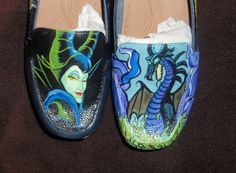 Anne would die tohave a pair of these... PERSONALIZED/CUSTOM Maleficent shoes by DJadeG on AEtsy, $90.00