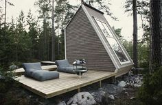 tiny forest cabin porch