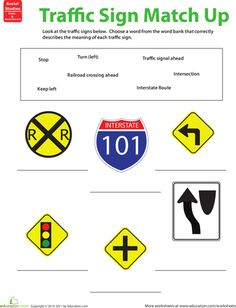 Printables Driver Education Worksheets worksheet traffic warning signs matching preview 1 info school worksheets sign matchup