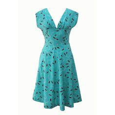 1940s vintage teal and black dress
