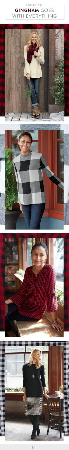 You can do gingham any way you want this holiday season. Cozy scarves, sweaters, blouses and skirts in a classic pattern.