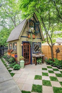 30 Absolutely Enchanting Garden Shed Hideaways is part of Small cottage garden ideas - If you are an avid gardener or wish to have a potting shed for putting around, why not add one to your garden for a charming environment Small Cottage Garden Ideas, Garden Cottage, Home And Garden, Backyard Cottage, Small Cottage Designs, Garden Huts, Sun Garden, Porch Garden, Home Garden Design