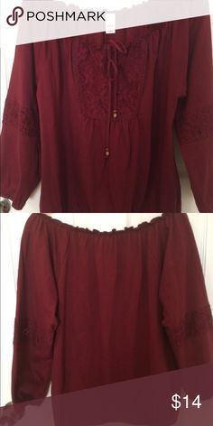 Bogo Peasant Blouse Wine colored Peasant Blouse with Lace Neckline and Beaded Ties at neckline Bogo Tops Blouses
