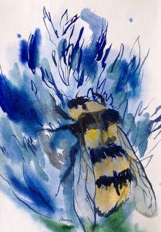 Bee watercolor painting original artwork. by AlisaAdamsoneArt