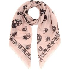 Alexander McQueen Skull-Printed Scarf ($330) ❤ liked on Polyvore featuring accessories, scarves, pink, pink scarves, skull shawl, pink shawl, skull scarves and alexander mcqueen shawl