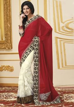 Buy Red And Off White Faux Georgette Saree With Blouse Price: 3000 Rs. For More Detail Whatsapp @ +919827531001 Or Email@ Support@AanchalFashion.com